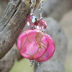 Hot Pink Mother of Pearl Handmade Earrings Swarovski Gold Unique OOAK | ShadowDogDesigns - Jewelry on ArtFire