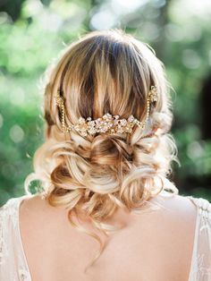 Grecian Bridal Hair Ideas with a Golden Headpiece