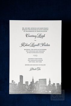 New York City inspired wedding. Invitations by CeciNewYork.com -- Photography: Glen Allsop Of Christian Oth Studio - christianothstudio.com -- See the wedding on #SMP here: http://www.StyleMePretty.com/2014/04/30/winter-new-york-hotel-wedding