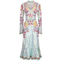 Temperley London Glint Midi Show Dress (€4.935) ❤ liked on Polyvore featuring dresses, celadon mix, midi, flared dresses, sequin dress, flare dress, long sleeve dresses and summer dresses
