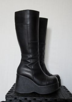 90s Wedge Platform Boots // Cyber Gothic by DarkestHourVintage