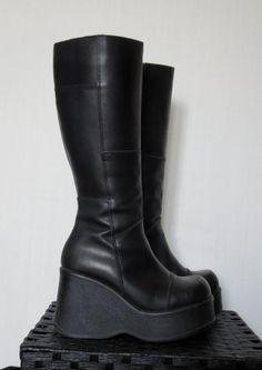 90s Wedge Platform Boots // Cyber Gothic by DarkestHourVintage