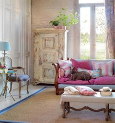 Nice light colors vintage livingroom or family room