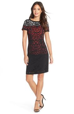 Nue by Shani Laser Cut Floral Crepe Dress available at #Nordstrom