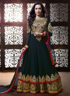 Classy Black Shraddha Kapoor Layered #Anarkali