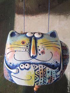 """Статуэтки ручной работы. Колокольчик """"Кот добрый"""". Небесный жираф. Интернет-магазин Ярмарка Мастеров. Кот"""