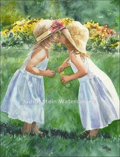 GIRL SISTERS Blow Kisses Bubbles 11x15 Giclee by steinwatercolors, $40.00
