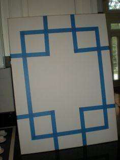 Tape off shapes on the canvas before letting kids finger paint! Cute idea!