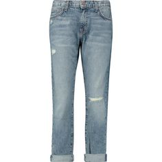 Current Elliott The Fling distressed mid rise boyfriend jeans ($238) ❤ liked on Polyvore featuring jeans, pants, bottoms, blue ripped jeans, destroyed jeans, current elliott boyfriend jeans, boyfriend jeans and cropped jeans