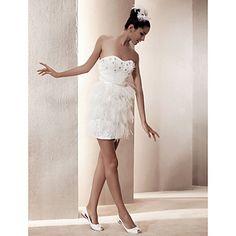 Sheath/ Column Sweetheart Short/ Mini Satin Wedding Dress – USD $ 149.99