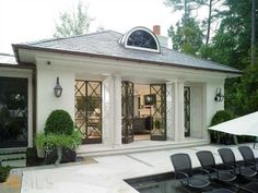 Beautiful pool and cabana on this Georgian Estate by Harrison Design Outdoor Rooms, Outdoor Living, Architecture Design, Gazebos, Harrison Design, French Doors, My Dream Home, Exterior Design, Future House