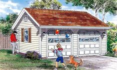 Simple, detached two-car garage plan offers a truss roof, ceiling and side-entry service door. Garage Building Plans, 2 Car Garage Plans, Garage Roof, Building A Deck, Garage Ideas, Gazebo On Deck, Gazebo Plans, 8x12 Shed Plans, Cool Garages