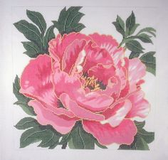 Lee Pink Peony Square Large Handpainted Needlepoint Canvas Easy Stitch 12 Mesh | eBay