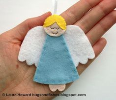 Bugs and Fishes by Lupin: How To: Felt Angel Ornament #2: Felt Christmas Tree Ornaments; great sewing with kids ideas!