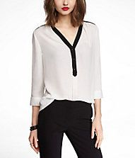 (MINUS THE) LEATHER TRIMMED HALF PLACKET TUNIC #EXPRESS
