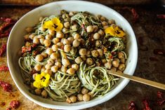 Sundried Tomato Basil Pesto Pasta with Garlicky Garbanzo Beans (Vegan and Gluten-free) - Heather Christo Basil Pesto Pasta, Sundried Tomato Pesto, Cooking Garbanzo Beans, Vegetarian Recipes, Healthy Recipes, Dessert For Dinner, Food Allergies, Pasta Dishes, Vegan Gluten Free