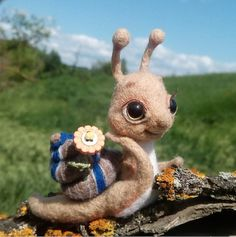 Cute Needle felted project wool animals snail(Via @sunnybunny_hm)