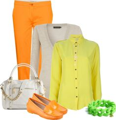 """Yellow, Orange and Green"" by megan-elizabeth-ii ❤ liked on Polyvore"