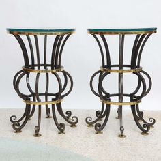 Pair of Iron and Brass with Glass Top Tables by Arturo Pani 3