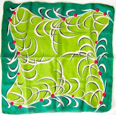 Vintage Silk Scarf Square green red Hand by nanascottagehouse, $12.00