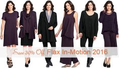 Thrifty Thursday (1-19-17) at Fg Clothing...FLAX Designs' FLAX In-Motion 2016 30% Off #FLAXDesigns #FLAX In-Motion 2016 is easy to dress up yet comfortable for every day. A rich prune color is added to the elegant black color selection in #FLAXCollection In-Motion. Both colors are available in all three fabrications: Marled Gauze, supple French Terry, and super-stretchy Mesh Tee. #FLAXClothing #LinenClothing