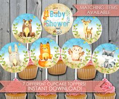 Ähnliche Artikel wie Woodland Cupcake Toppers, Woodland Baby Shower, Woodland Cake Topper, Woodland Cupcake Decorations, Forest, Animal, Blue, Boy, Nature #279 auf Etsy