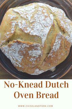 No-Knead Dutch Oven Bread - Bread board - Bread Dutch Oven Bread, Dutch Oven Cooking, Dutch Oven Recipes, Dutch Oven Potatoes, Artisan Bread Recipes, Quick Bread Recipes, Baking Recipes, Easy Recipes, Bread Board