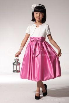 Natural Zipper Scoop Fuchsia Satin Tea-length Bow Classic/Modern Flower Girl Dress (GGCFGD1087)