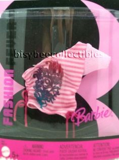 ~J1388 Barbie FASHION FEVER SEPARATES One Shoulder Stripe Top 2006 Mattel NRFP #Mattel