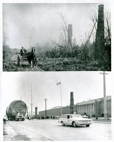 Fifty years of history and 31,999,99 horsepower mark the difference in these two pictures taken at the front of Michoud Assembly Facility (MAF) in New Orleans, Louisiana. The top image shows a 1915 horse and buggy passing in the front of the old Michoud Plantation. The bottom image is a 32 million horsepower Saturn I booster passing over the same road.