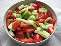 Pickled Cucumbers and Red Peppers