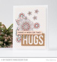 Doodled Blooms Card Kit, Twice the Hugs Die-namics, Fishtail Flag Frames Die-namics - Vika Salmina  #mftstamps