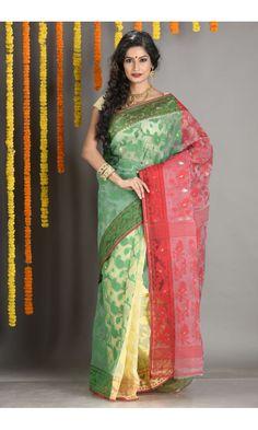Red - Yellow - Bottle Green - 3D Dhakai Jamdani Saree - Colors Of Bengal - adi5588   Adimohinimohankanjilal
