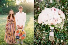 hot air ballon field wedding: bouquet