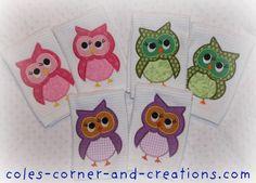 Owl applique ideas