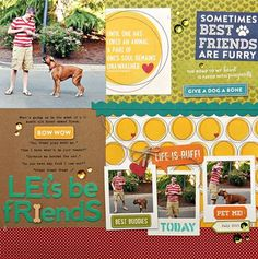Let's Be Friends pet scrapbooking layout by Summer Fullerton featuring Jillibean Soup Fur Fusion
