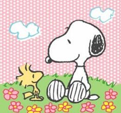 Snoopy and Woodstock on a lovely Spring day.
