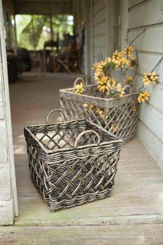 Kalalou Water Hyacinth Open Weave Baskets - Set Of 2