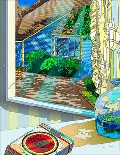 No one ever talks about Eizin Suzuki Landscape Illustration, Illustration Art, Vaporwave Art, City Landscape, Comic, Naive Art, Silk Screen Printing, Pixel Art, New Art