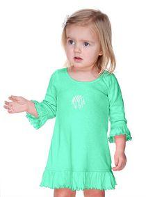 Green Monogram Dress - Infant, Toddler & Girls