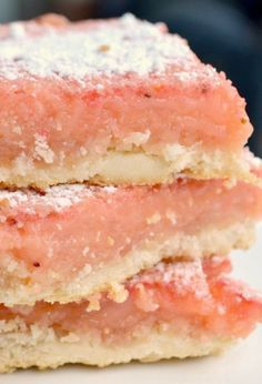 Strawberry Lemonade Bars ~ They are so refreshing – sweet and tart – and delicious! The pretty pink colour would also be perfect for a baby shower or a wedding dessert bar..