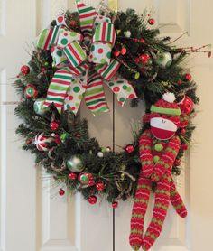 Sock Monkey Christmas Wreath.