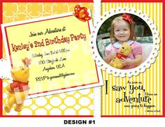 Winnie the Pooh Invitation - Winnie the Pooh Birthday Invitation - Printable Party Invite - Butterfly Bumblebee - Photo Girl, Boy Options on Etsy, $10.00