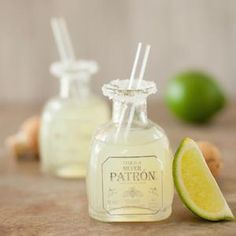 Two-sip margarita shots in miniature tequila bottles #drinks #alcohol #cocktails
