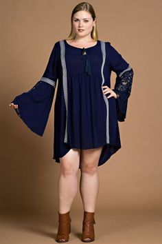 Blue lace tunic dress - Curvy – The Pink Ivy Boutique