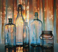 cecile baird | Still Life Colored pencil Drawings: Sunset in a Bottle by Cecile Baird