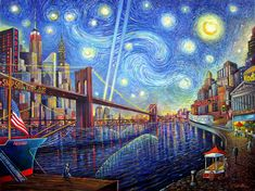 Starry Night #7 -- Composition of down town Manhattan and van Gogh beautiful painting of starry night in a new arrangement and surreal landscape. giclee print on canvas