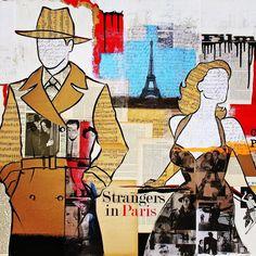 """Strangers in Paris"". Chance encounters: finding love where you least expect it. #hollywoodart #filmnoir #sheetmusic #losangelesart #mixedmedia #vintage #paris #eiffeltower #love #chanceencounters #collageart #crimeofpassion"