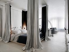 curtained bedroom