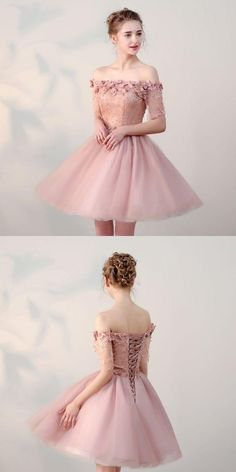 handmade dresses Off Shoulder Homecoming Dresses,Tulle Appliqued Homecoming Dresses,Pearl Pink Homecoming Dresses from veryprom · customdresskoko · Online Store Powered by Storenvy Hoco Dresses, Pretty Dresses, Sexy Dresses, Beautiful Dresses, Evening Dresses, Fashion Dresses, Formal Dresses, Wedding Dresses, Vintage Homecoming Dresses